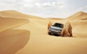 Picture sand, desert, SUV, range rover