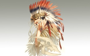 Picture feathers, skeleton, guy, art, Indian, headdress