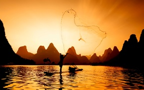 Picture river, network, fisherman, fishing at sunset
