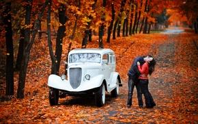 Picture autumn, Park, background, Wallpaper, romance, kiss, emka, GAZ M1