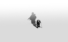 Picture shadow, minimalism, soldiers, veteran, the old man