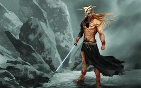 Picture sword, ice, rock, game, Bleach, anime, snow, katana, man, boy, asian, Kurosaki Ichigo, mask, manga, …