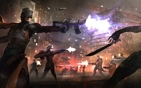 Picture the city, weapons, fiction, battle, gang, fight, megapolis, killer, slaughter, criminals