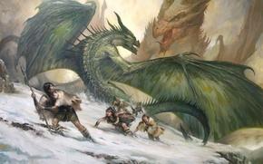 Wallpaper snow, mountains, people, girls, rocks, dog, dragons, art, battle, savages, LucasGraciano