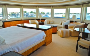 Picture design, style, interior, luxury yacht, living area