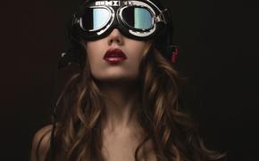 Picture portrait, makeup, glasses, helmet, fashion, Steampunk