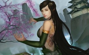 Wallpaper hands, tattoo, legend of five rings, dragon clan, mountains, art, back, temple, girl, Sakura, rocks