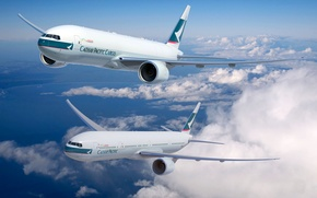 Picture The sky, The plane, Boeing, Aviation, 777, In The Air, Flies, Cathay Pacific, Storm