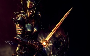 Picture girl, rendering, background, sword, armor, warrior, helmet