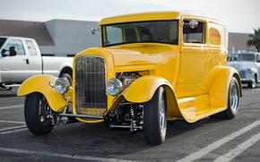 Picture yellow, retro, classic, hot-rod, classic car