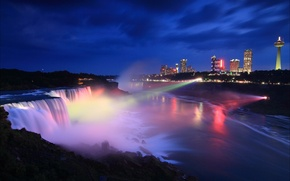 Picture night, the city, Canada, Ontario, USA, Niagara falls, Canada, night, Ontario, Niagara Falls