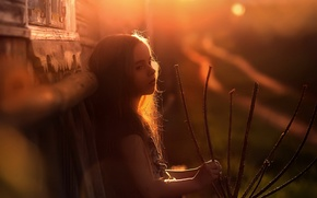 Picture light, house, the evening, girl