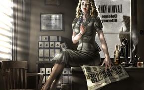 Wallpaper girl, gun, figure, suicide, Newspaper