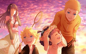 Picture girl, children, guy, naruto, anime, art, Hyuuga Hinata, Uzumaki Naruto, uzumaki Naruto, himawari uzumaki