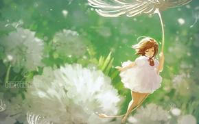 Picture summer, elf, fairy, fluff, girl, dandelions, white dress, art, chibi oneechan