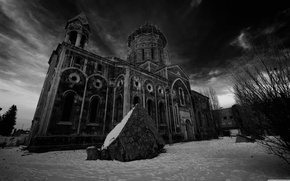 Picture stone, black and white, Church, structure, the monastery, Armenia