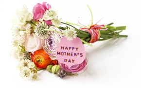 Picture flowers, roses, bouquet, happy, eustoma, Mother's day, mothers Day