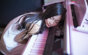 Picture music, girl, piano
