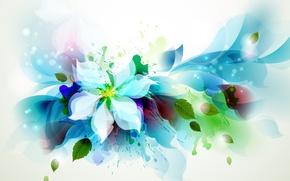Picture flower, leaves, squirt, petals