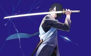 Picture sword, anime, art, guy, Naruto, Naruto, Sasuke Uchiha
