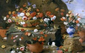 Picture animals, birds, basket, picture, vase, Still life with Flowers, Jan van Kessel the Elder