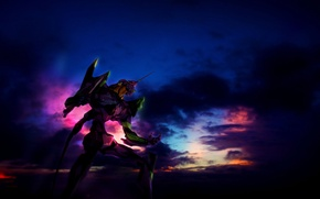Picture the sky, clouds, robot, giant, Evangelion, Evangelion