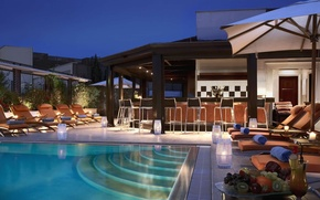 Picture bar, pool, chairs, house, pool, bar, sunbeds, interior, home, fruit.