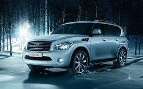 Picture winter, forest, light, snow, jeep, SUV, infiniti, birch, infiniti, qx56, luxury