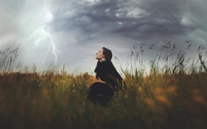 Picture field, girl, element, lightning, The Storm, squally wind