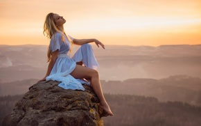 Picture girl, landscape, sunset, stone, view, height, dal, legs, Erotic sunset