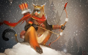Picture bow, art, arrows, monkey, Alexander Khitrov, GaudiBuendia