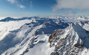 Picture the sky, clouds, snow, mountains, tops, Alps