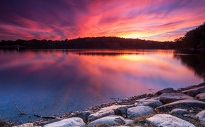 Picture landscape, nature, lake, dawn, shore