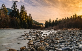 Picture sunset, river, stones