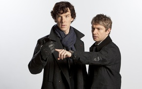 Wallpaper white background, the series, actors, Martin Freeman, Martin Freeman, Sherlock, benedict cumberbatch, Benedict cumberbatch, Holmes, ...
