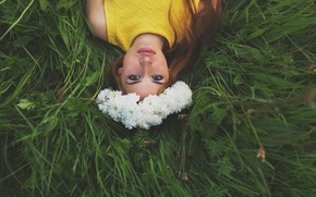 Picture grass, look, girl, wreath, redhead, Wonderful picture