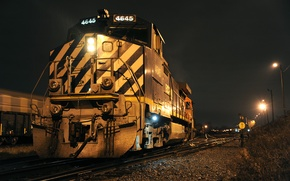 Picture road, night, train