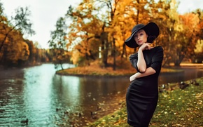 Picture autumn, girl, dress, hat, Russia, Autumn colors