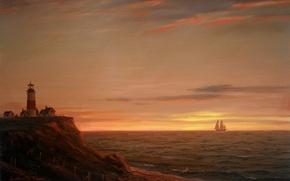 Picture sea, the sky, light, landscape, sunset, shore, lighthouse, ship, sailboat, picture, William Davis