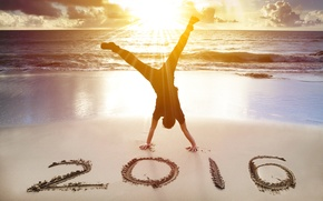 Picture sand, beach, sunset, New Year, New Year, Happy, 2016