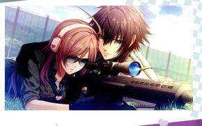 Picture headphones, glasses, hearts, two, date, sight, rifle, visual novel, glass heart princess, yuki Konami, kyouko …