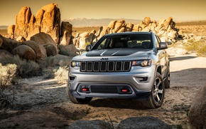 Picture car, rock, sky, desert, cloud, sand, Jeep, Grand Cherokee, Cherokee, Trailhawk, suna, kumo, sabaku, Jeep ...