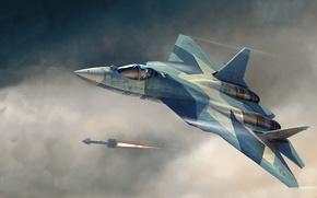 Picture figure, shot, rocket, start, T-50, PAK FA, Sukhoi, The Russian air force, Russian multi-purpose fighter …