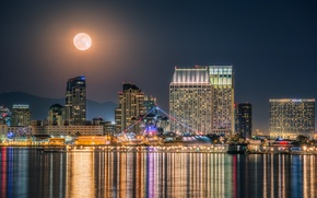 Wallpaper San Diego, ship, California, glare, CA, night city, skyscrapers, port, the moon, water, building, the ...