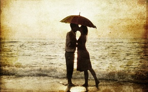 Picture sea, girl, retro, barefoot, umbrella, Sepia, pair, surf, male, lovers