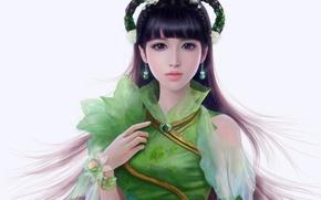 Picture look, girl, hair, hand, dress, art, white background, Asian, earrings