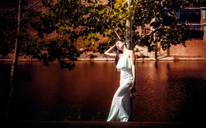 Picture water, girl, the sun, trees, dress, brunette, shoes, channel, is, in white, keeps