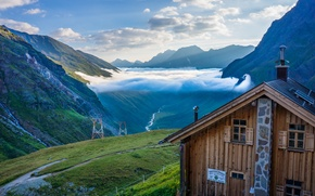 Wallpaper clouds, mountains, house, river, valley, Austria, Tyrol