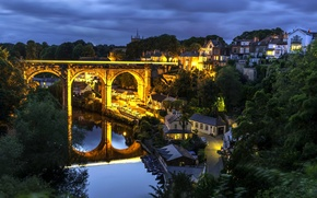 Picture bridge, reflection, river, England, building, home, night city, viaduct, England, North Yorkshire, North Yorkshire, Knaresborough, …