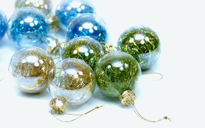Picture the rain, balls, holiday, new year, transparent, white background, glass, colorful, Christmas decorations, brilliant, Wallpaper …